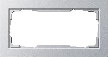 Gira E2 afdekraam 2-voudig zonder middenstuk aluminium