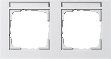 Gira E2 afdekraam 2-voudig horizontaal met tekstkader zuiver wit glanzend