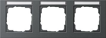 Gira E2 afdekraam 3-voudig horizontaal met tekstkader antraciet