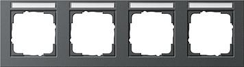 Gira E2 afdekraam 4-voudig horizontaal met tekstkader antraciet