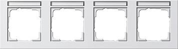 Gira E2 afdekraam 4-voudig horizontaal met tekstkader zuiver wit glanzend