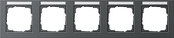 Gira E2 afdekraam 5-voudig horizontaal met tekstkader antraciet