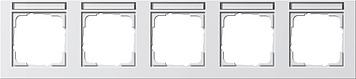 Gira E2 afdekraam 5-voudig horizontaal met tekstkader zuiver wit glanzend