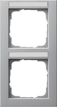 Gira E2 afdekraam 2-voudig verticaal met tekstkader aluminium