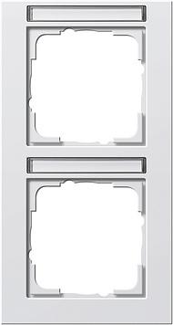 Gira E2 afdekraam 2-voudig verticaal met tekstkader zuiver wit glanzend