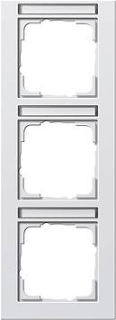Gira E2 afdekraam 3-voudig verticaal met tekstkader zuiver wit glanzend