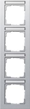 Gira E2 afdekraam 4-voudig verticaal met tekstkader aluminium