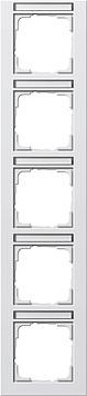 Gira E2 afdekraam 5-voudig verticaal met tekstkader zuiver wit mat