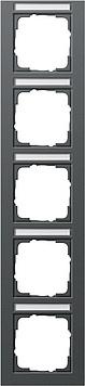 Gira E2 afdekraam 5-voudig verticaal met tekstkader antraciet