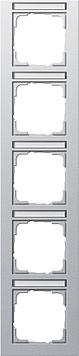 Gira E2 afdekraam 5-voudig verticaal met tekstkader aluminium