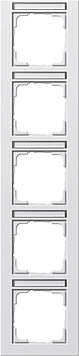 Gira E2 afdekraam 5-voudig verticaal met tekstkader zuiver wit glanzend