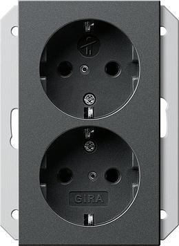Gira 2-voudig stopcontact voor 1,5-voudige apparaatdoos - systeem 55 antraciet (273528)