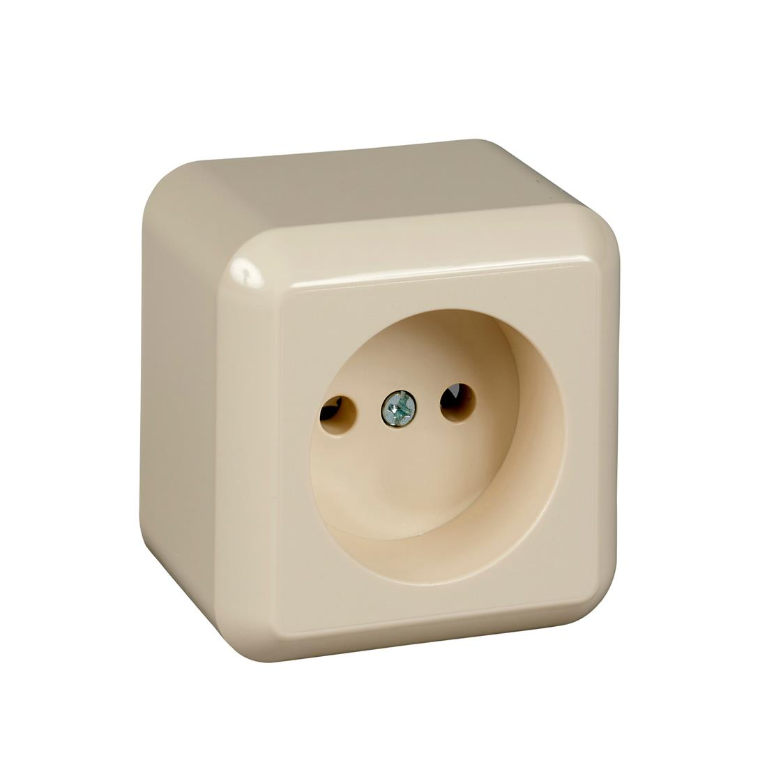 Schneider Electric Contura opbouw enkelvoudige wandcontactdoos zonder randaarde 16A 250V - crème wit (ELG395800)