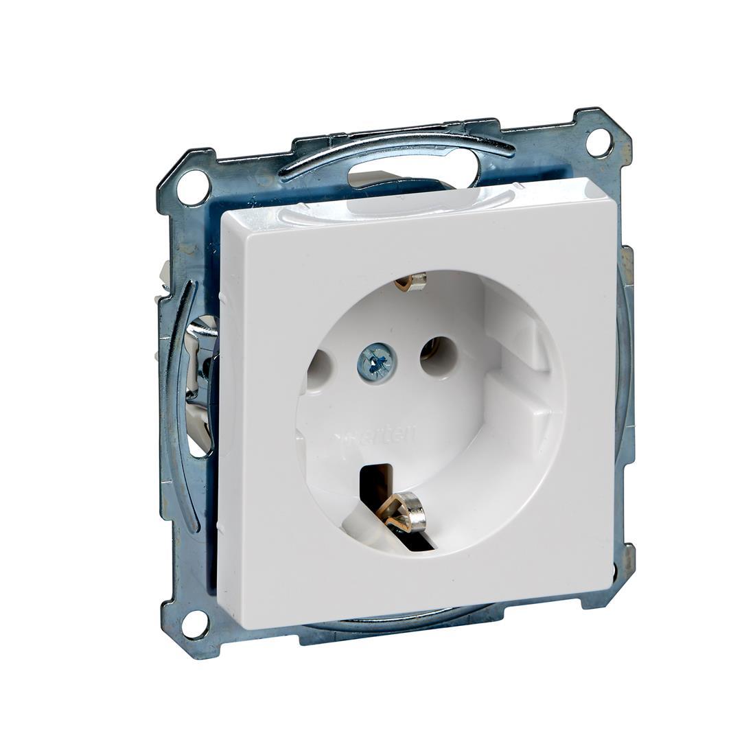 Schneider-Merten systeem M SCHUKO wandcontactdoos met steekklemmen - actief wit glanzend (MTN2301-0325)