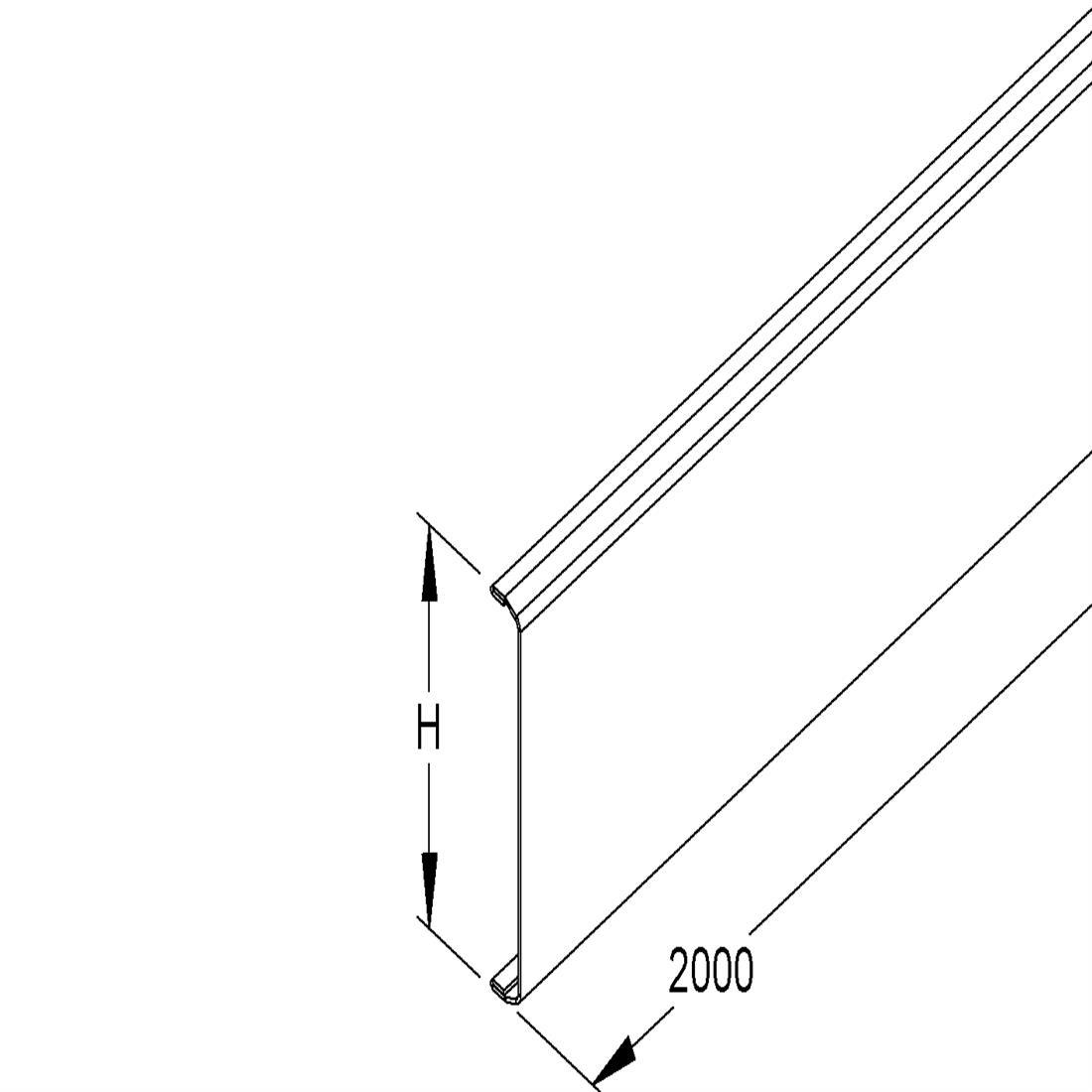 Niedax Kleinhuis GDS deksel wandgoot 78 mm - zuiver wit per 2 meter (132711)