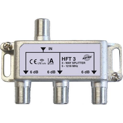 Astro Strobel verdeler 3-voudig, retourgeschikt, met F-aansluiting, tot 1.218 Mhz (HFT3)