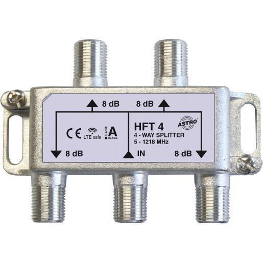 Astro Strobel verdeler 4-voudig, retourgeschikt, met F-aansluiting, tot 1.218 Mhz (HFT4)