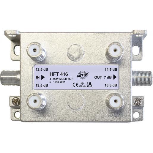 Astro multi-tap 4-voudig, 13-16dB aftakdemping, retourgeschikt, met F-aansluiting (HFT416)