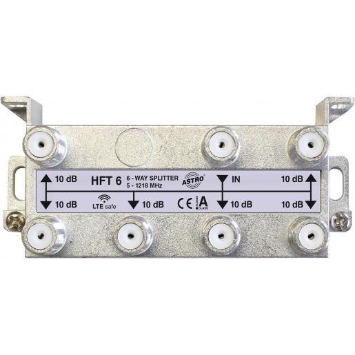 Astro Strobel verdeler 6-voudig, retourgeschikt, met F-aansluiting, tot 1.218 Mhz (HFT6)