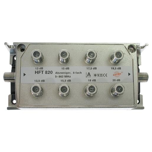 Astro multi-tap 8-voudig, 13-16dB aftakdemping, retourgeschikt, met F-aansluiting (HFT820)