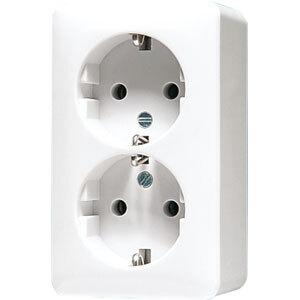 JUNG AP600 stopcontact 2-voudig met randaarde alpin wit