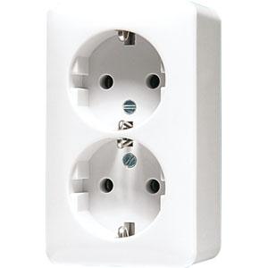 JUNG 2 voudige wandcontactdoos met beschermingscontact 16A 250V - opbouw zuiver wit (6020AWW)