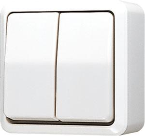 JUNG tweedelige wipschakelaar 10A 250V - Opbouw zuiver wit (605AWW)
