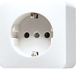 JUNG AP600 opbouw wandcontactdoos enkelvoudig met randaarde - alpin wit (620 A WW)