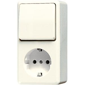 JUNG opbouw combinatie wisselschakelaar en stopcontact met randaarde - crème wit (676A)
