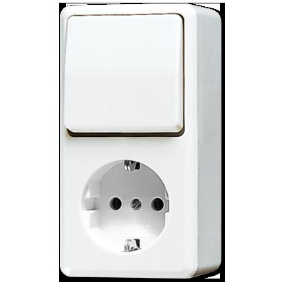 JUNG AP600 combinatie stopcontact/serieschakelaar met randaarde alpin wit