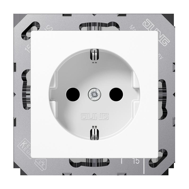 JUNG A500 stopcontact met randaarde en kinderbeveiliging alpin wit