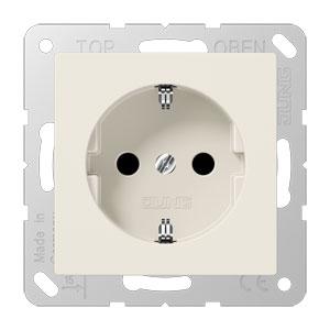 JUNG stopcontact kinderbeveiling met randaarde 1 voudig - as500 crème wit (A520NKI)