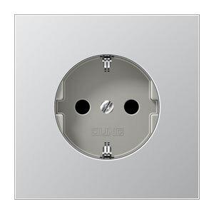 JUNG stopcontact met randaarde en kinderbeveiliging aluminium