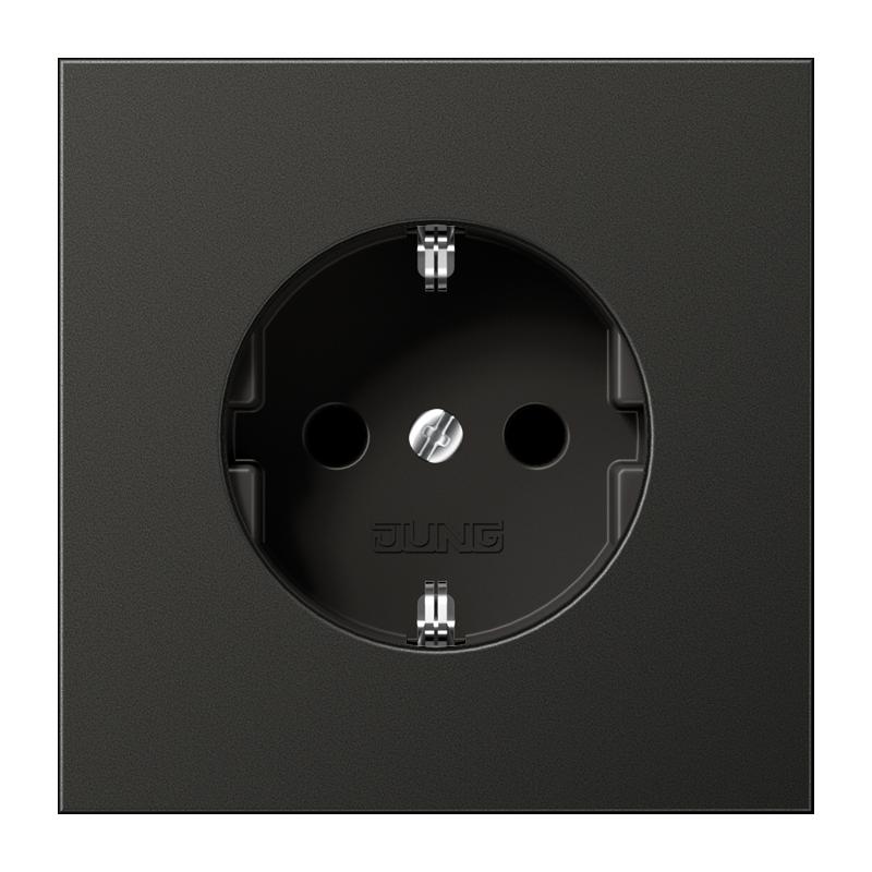 JUNG AL1520NKIAN stopcontact met randaarde en kindbeveiliging 1-voudig antraciet