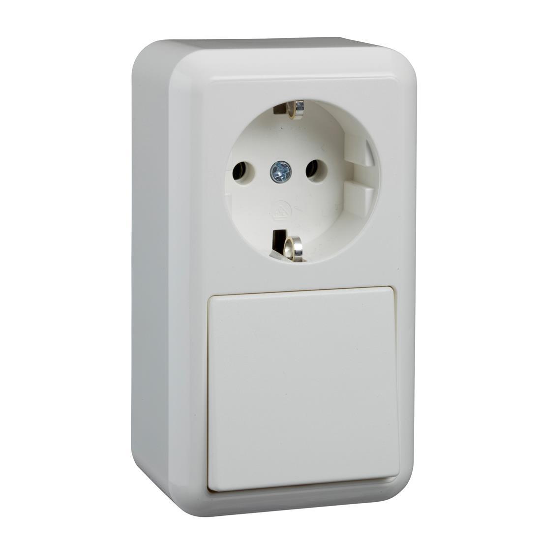 Schneider Electric Merten Contura opbouw combinatie 1-voudig wandcontactdoos met randaarde + wisselschakelaar - arctic wit (388604)