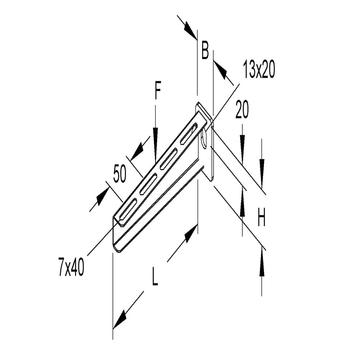 Niedax Kleinhuis kabelgoot wandconsole voor 100 mm breed KTA100