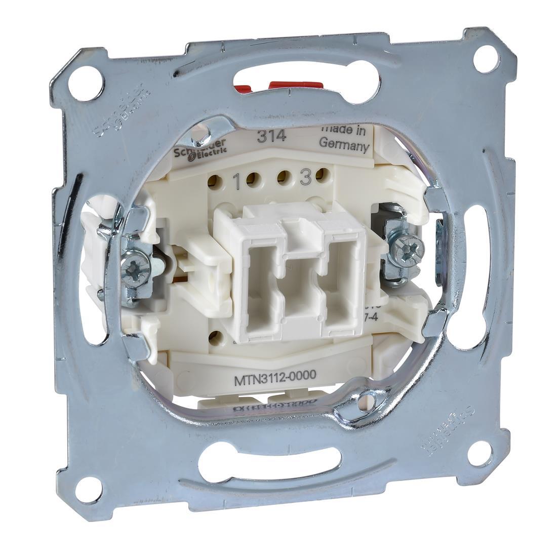 Schneider-Merten Uitschakelaarsokkel 2-polig, 10AX, AC 250V met insteekklemmen (MTN3112-0000)
