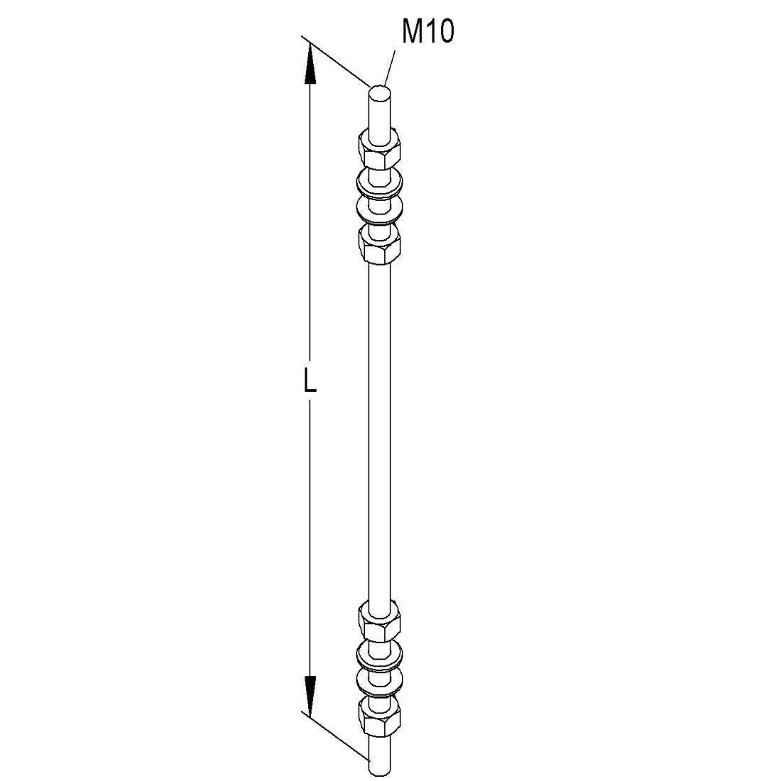 Niedax Kleinhuis draadstang M10/1000 met moeren