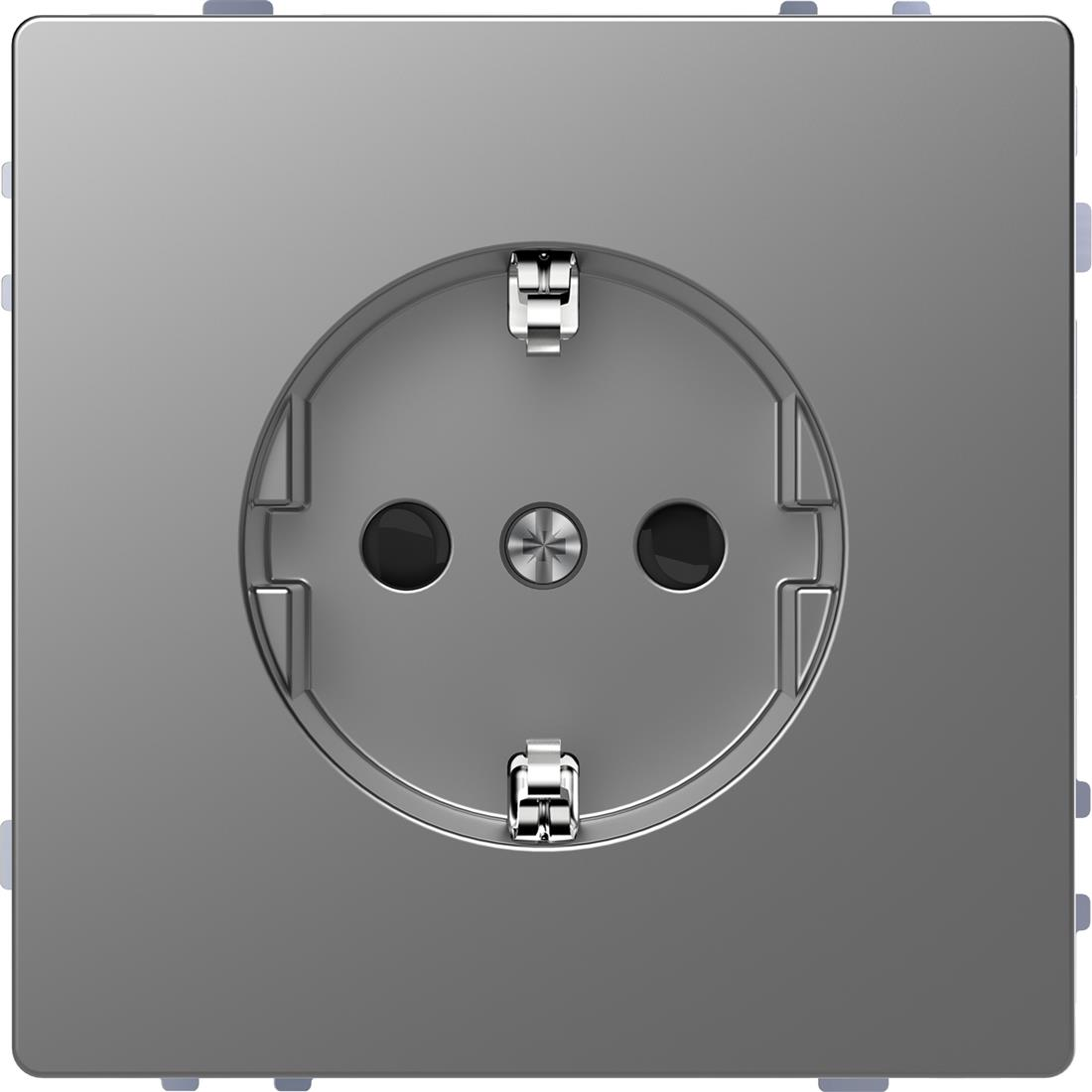 Schneider-Merten D life wandcontactdoos met kinderbeveiliging - RVS look (MTN2300-6036)