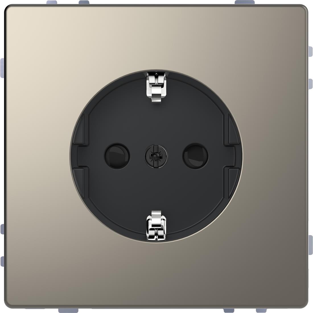 Schneider-Merten D Life wandcontactdoos met kinderbeveiliging -nikkel metallic (MTN2300-6050)