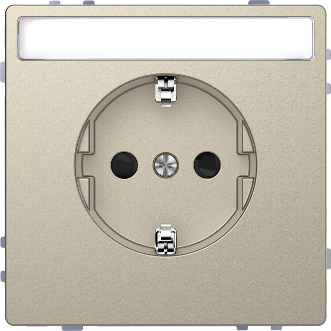 Schneider-Merten D Life wandcontactdoos met tekstvenster en kinderbeveiliging - sahara (MTN2302-6033)