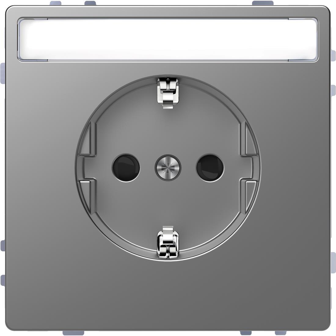 Schneider-Merten D Life wandcontactdoos met tekstvenster en kinderbeveiliging - RVS look (MTN2302-6036)