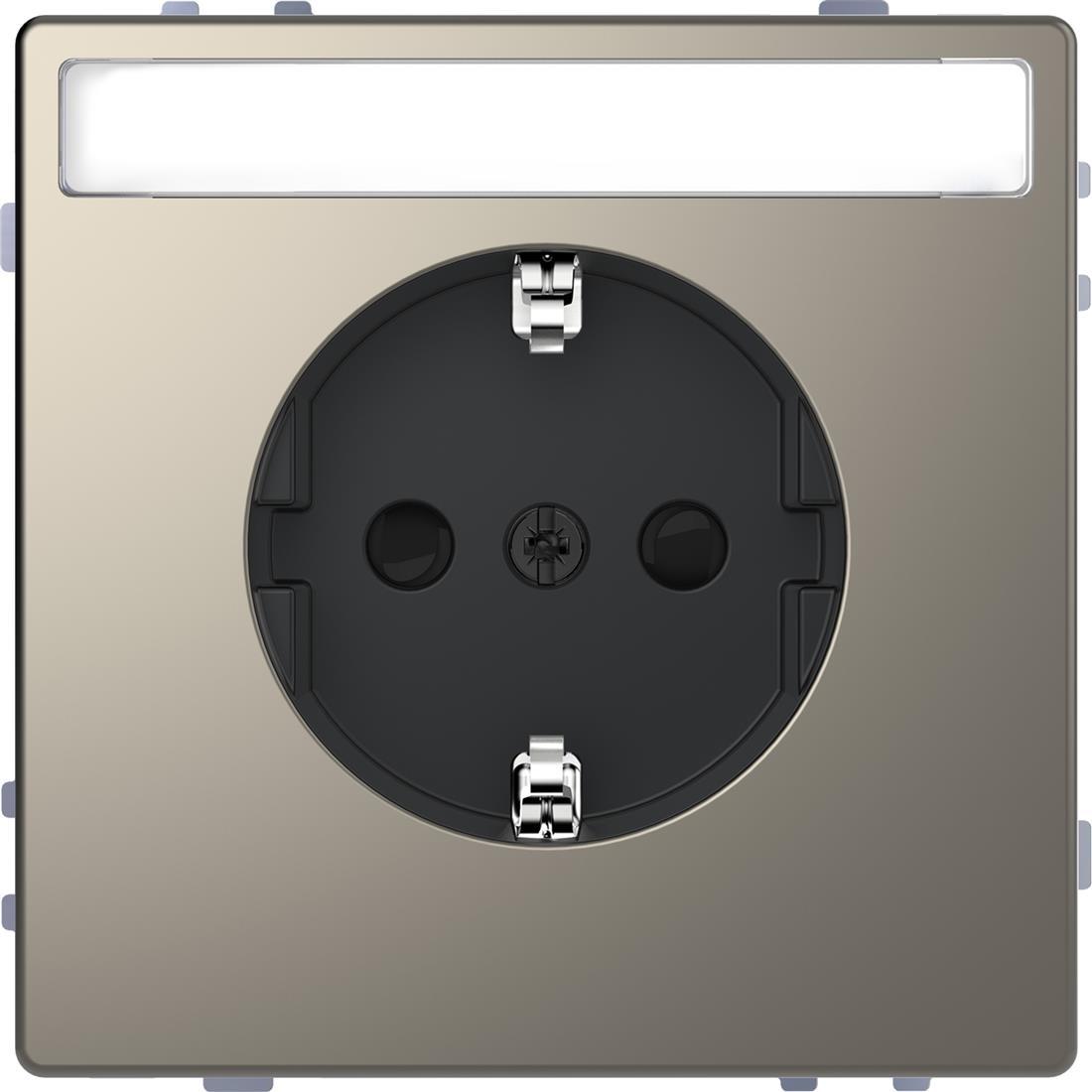 Schneider-Merten D Life wandcontactdoos met tekstvenster en kinderbeveiliging - nikkel metallic (MTN2302-6050)