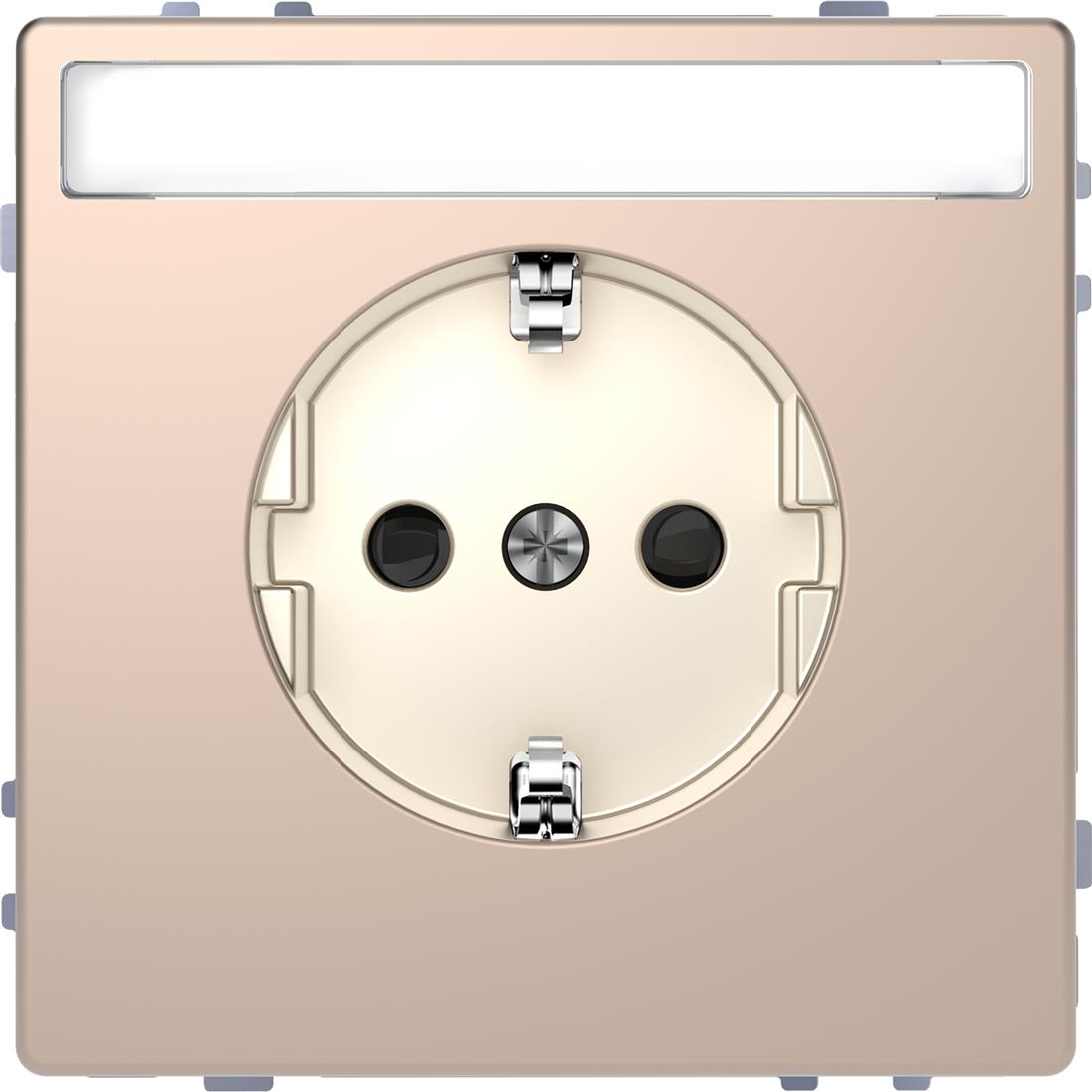 Schneider-Merten D Life wandcontactdoos met tekstvenster en kinderbeveiliging - champagne metallic (MTN2302-6051)