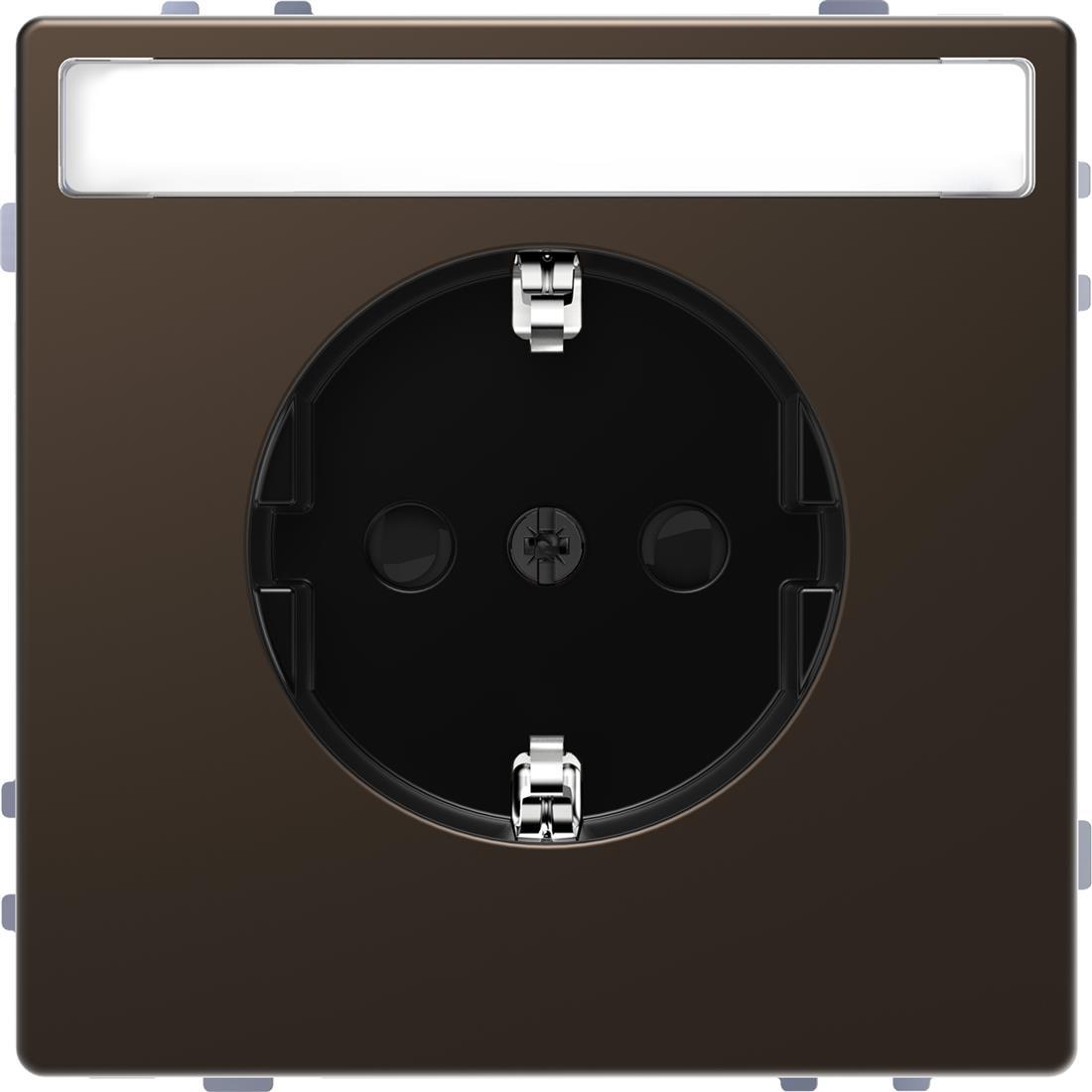 Schneider-Merten D Life wandcontactdoos met tekstvenster en kinderbeveiliging - mocca metallic (MTN2302-6052)