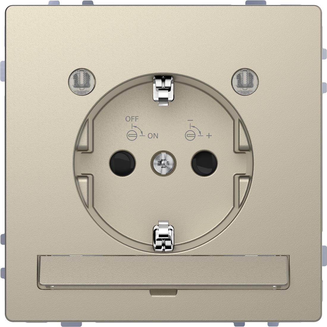 Schneider-Merten D Life wandcontactdoos met LED en kinderbeveiliging - sahara (MTN2304-6033)