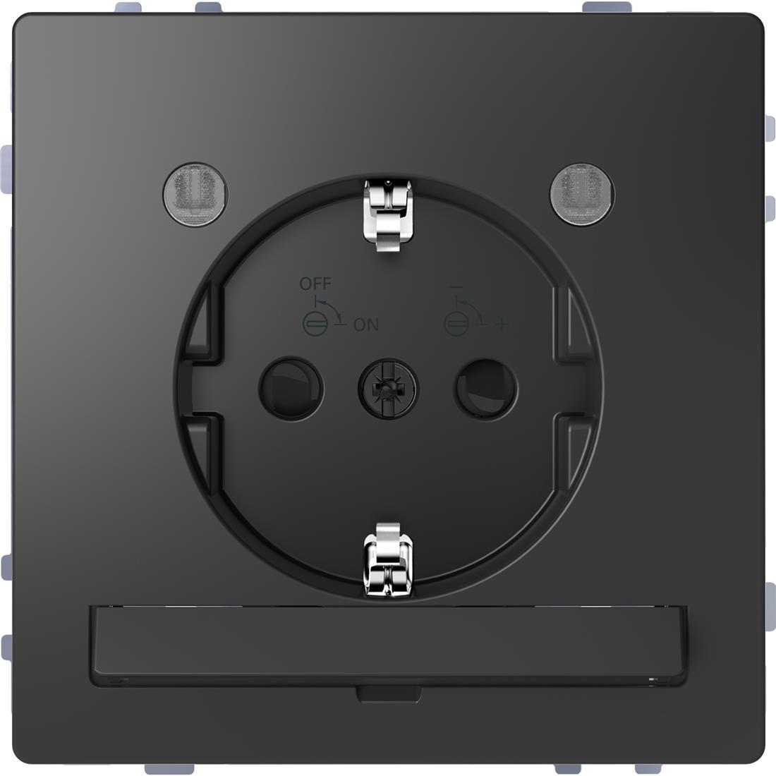 Schneider-Merten D Life wandcontactdoos met LED en kinderbeveiliging - antraciet (MTN2304-6034)