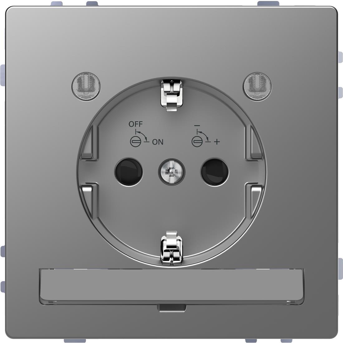 Schneider-Merten D Life wandcontactdoos met LED en kinderbeveiliging - RVS look (MTN2304-6036)