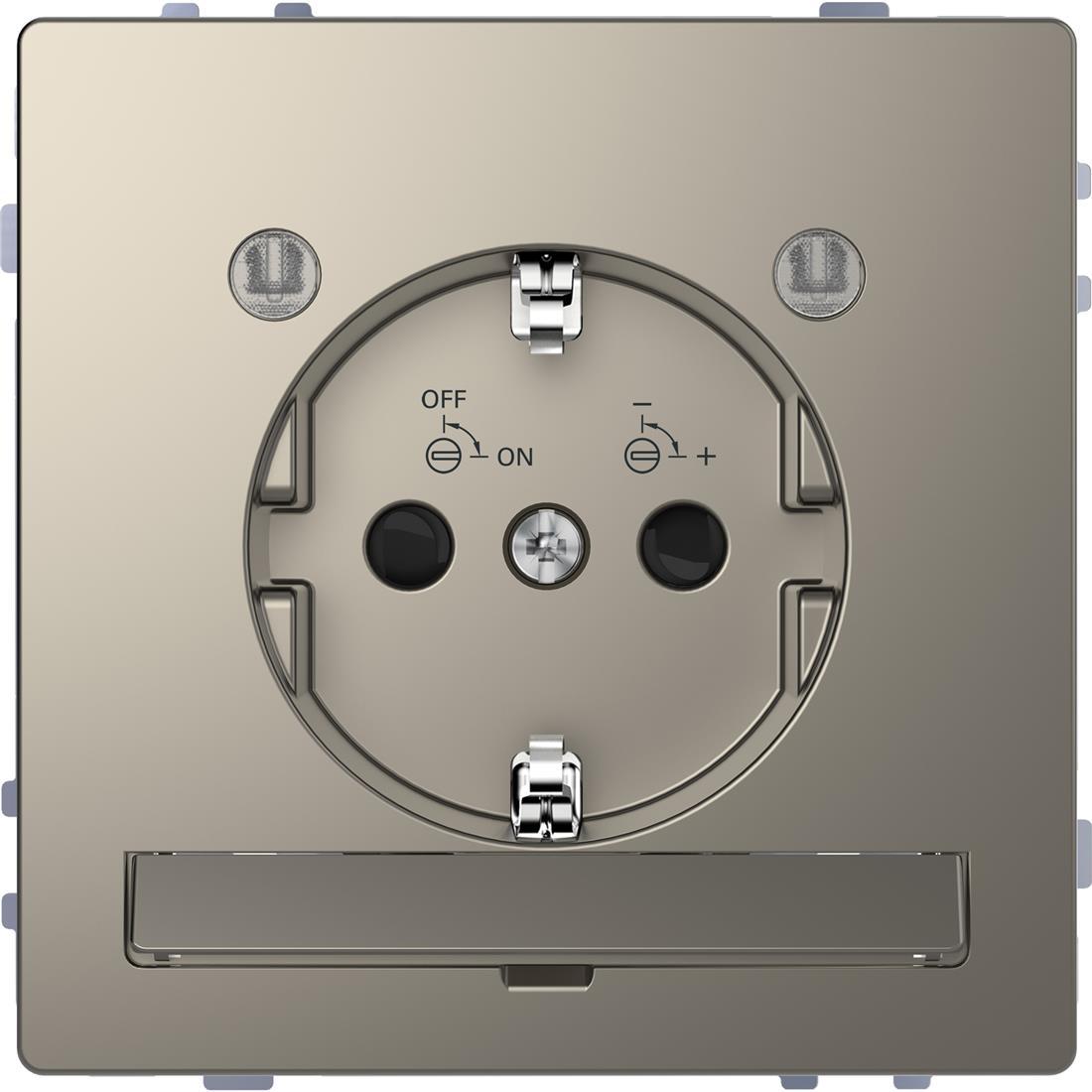 Schneider-Merten D Life wandcontactdoos met LED en kinderbeveiliging - nikkel metallic (MTN2304-6050)