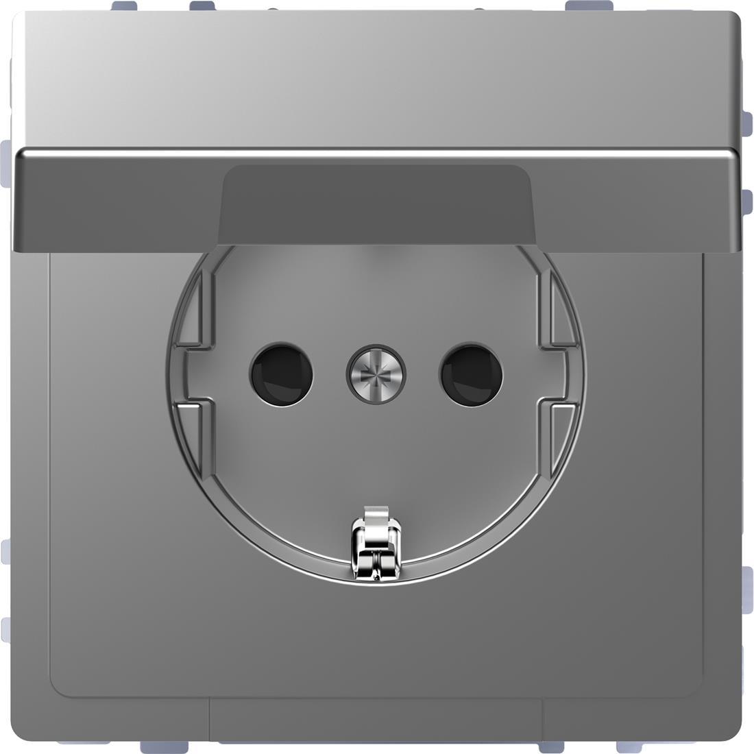 Schneider-Merten D Life wandcontactdoos met klapdeksel en kinderbeveiliging - RVS look (MTN2310-6036)